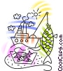 Commercial fishing boat catching fish Vector Clipart picture