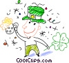 celebrating St. Patrick's day with beer Vector Clipart image