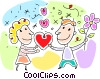 Vector Clip Art image  of a giving his wife chocolates and flowers