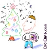 Boy looking at his Christmas tree Vector Clip Art graphic