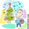 Boy looking at his Christmas tree Vector Clip Art image