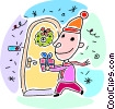 Vector Clip Art picture  of a Boy bringing a gift to