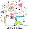 Vector Clipart graphic  of a Boy bringing a gift to
