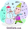 Boy building a snowman Vector Clip Art picture