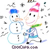 Vector Clip Art graphic  of a Boy building a snowman