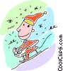 Boy going downhill on a sled Vector Clipart illustration