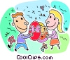Boy and a girl exchanging Easter eggs Vector Clipart picture