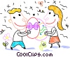 Boy and a girl exchanging Easter eggs Vector Clip Art picture