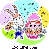 Vector Clip Art graphic  of a Easter bunny painting an
