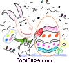 Easter bunny painting an Easter egg Vector Clipart picture