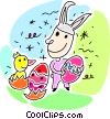 Vector Clipart graphic  of a Easter bunny with a chick