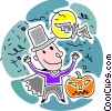 Boy in costume with jack-o-lantern and bats Vector Clip Art picture