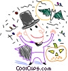 Vector Clip Art graphic  of a Boy in costume with jack-o-lantern
