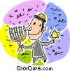 Vector Clip Art graphic  of a boy with menorah and Star of David