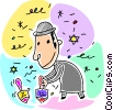 Jewish boy playing with Driedels Vector Clip Art graphic