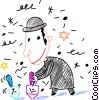 Vector Clipart image  of a Jewish boy playing with
