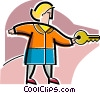 Woman with house key Vector Clip Art picture