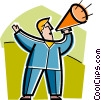 Man making announcements with megaphone Vector Clip Art graphic