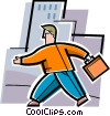 man walking to work with his briefcase Vector Clipart illustration
