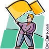 Vector Clip Art image  of a Businessman waving a flag