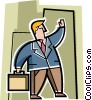 Vector Clipart graphic  of a man with his briefcase hailing