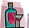 Bottle of wine and wine glass Vector Clipart graphic