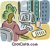 Businesswoman working on computer at desk Vector Clip Art picture