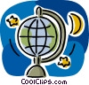 Vector Clip Art graphic  of a Globes with stars and moon