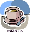 Teacup with spoon Vector Clip Art image