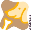 Vector Clip Art graphic  of a Dog and bone