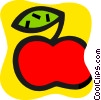 Apple with leaf Vector Clipart illustration