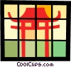 Vector Clipart graphic  of a Japanese temple
