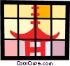 Vector Clip Art graphic  of a Japanese temple