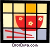 Vector Clip Art picture  of a Rice bowl and chopsticks