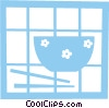 Vector Clipart graphic  of a Rice bowl and chopsticks
