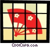 Vector Clip Art image  of an Asian hand fan