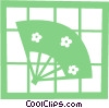 Asian hand fan Vector Clipart image