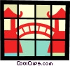 Bridge between Asian temples Vector Clipart illustration