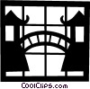 Vector Clip Art image  of a Bridge between Asian temples