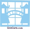 Vector Clip Art graphic  of a Bridge between Asian temples