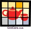 Teapot and teacup Vector Clipart image