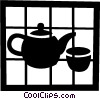 Vector Clipart picture  of a Teapot and teacup