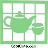 Teapot and teacup Vector Clipart picture