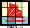 Vector Clip Art image  of an Asian sailboat
