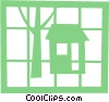 Vector Clip Art graphic  of a House and tree