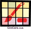 Vector Clip Art image  of a Paintbrush and paints