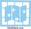Vector Clip Art image  of a Folding privacy screen