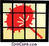 Vector Clipart picture  of an Asian hand fan