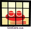 Rice bowls with chopsticks Vector Clipart illustration