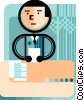 Businessman at desk doing paperwork Vector Clipart picture